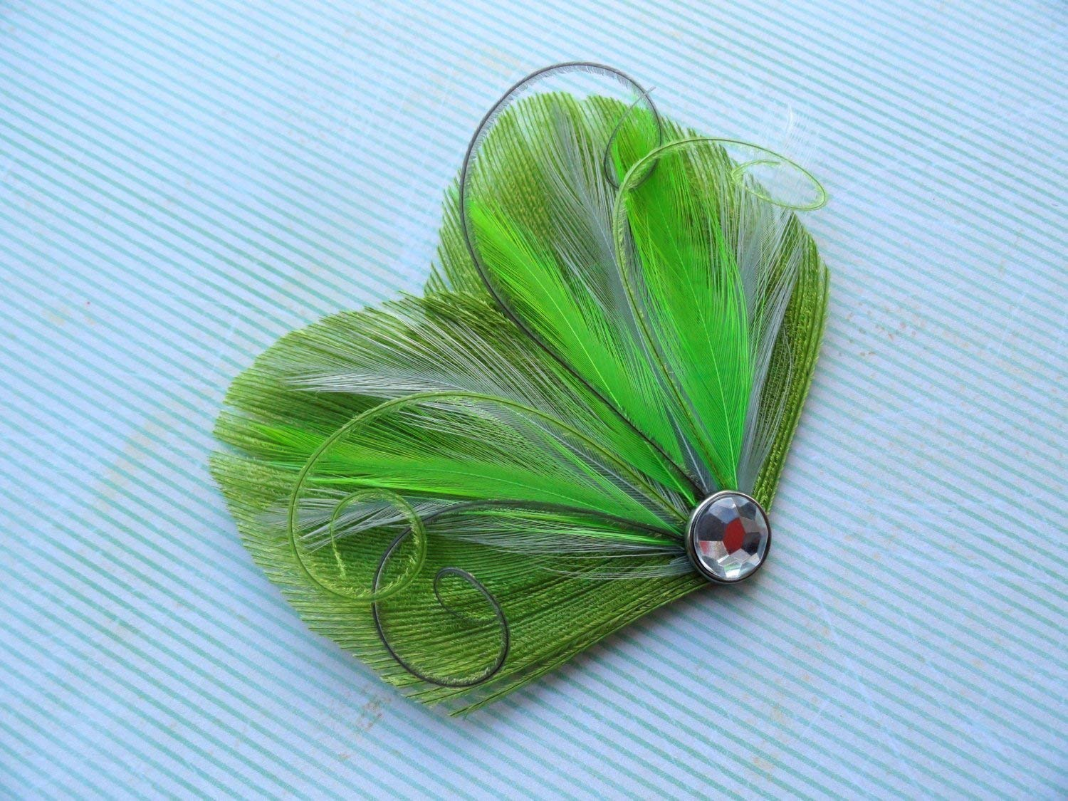 Oh Lucy Handmade DREAM Peacock Feather Hair Clip, Feather Fascinator in Lime Green and Gray
