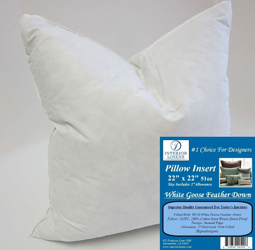 "22"" x 22"" 51oz. Pillow Insert: 90/10 White Goose Feather Down - 2"" Oversized & Firm Filled (Actual Size: 24""x24"")"