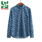 High Quality 100%Cotton Long Sleeve Print Designer Men Dress Shirt
