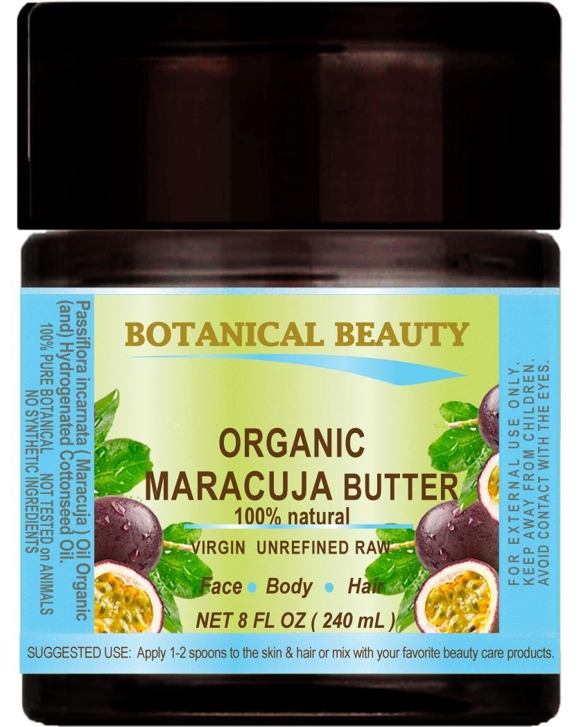 MARACUJA OIL BUTTER ORGANIC 100 % Natural / VIRGIN UNREFINED RAW / 100% PURE BOTANICALS. 8 Fl.oz.- 240 ml. For Skin, Hair and Nail Care.