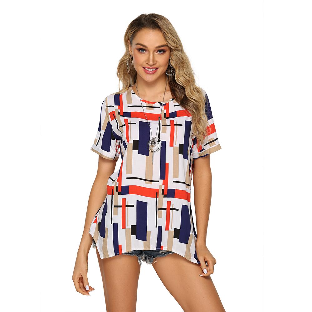 TOM10033 ยุโรปแฟชั่นผู้หญิง 3/4 แขนเสื้อ V คอผู้หญิงเสื้อผู้หญิงเสื้ออินเทรนด์พิมพ์ด้านบนผู้หญิง