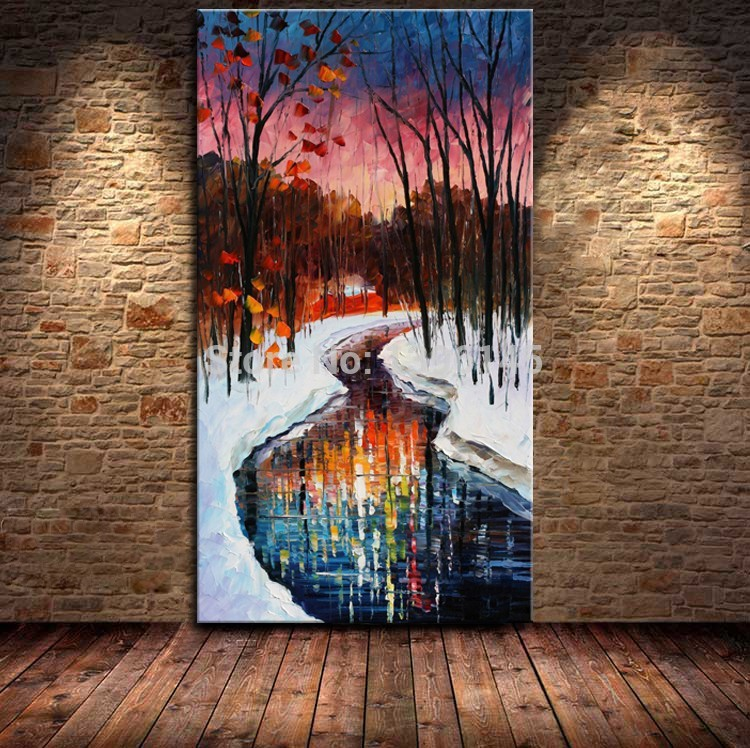 Free Shipping For Sell Wholesale Cheap 100% Handmade Beautiful Winter Landscape Knife Oil Painting Modern Art Pictures