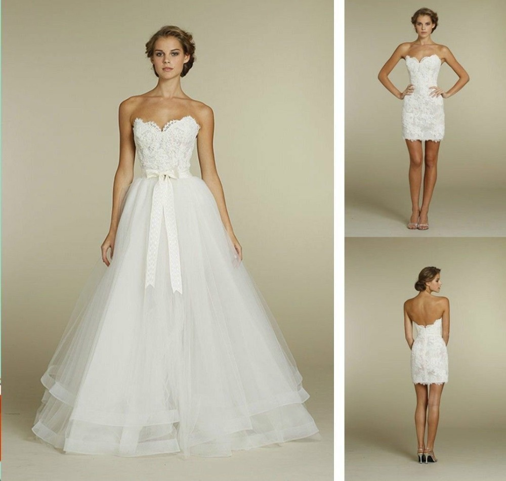 Removable Wedding Gown Dress: Convenient Two In One Wedding Dresses Lace Sweetheart