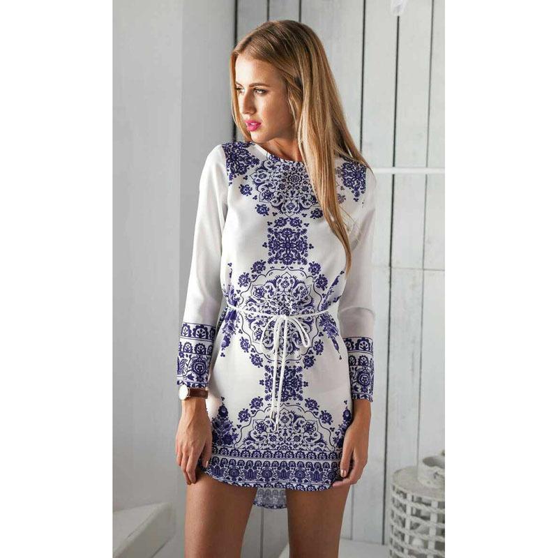 c5d6ee8f1d5f Get Quotations · 2015 Summer Autumn White Blue Porcelain Long Sleeve Loose  Casual Mini Keyhole Back Hem Tile Prints