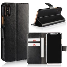PU Leather Flip Wallet Cover Mobile Phone Holster For iPhone X Magnetic Stand Flip Cellphone Cases With Credit Card Holder Slots