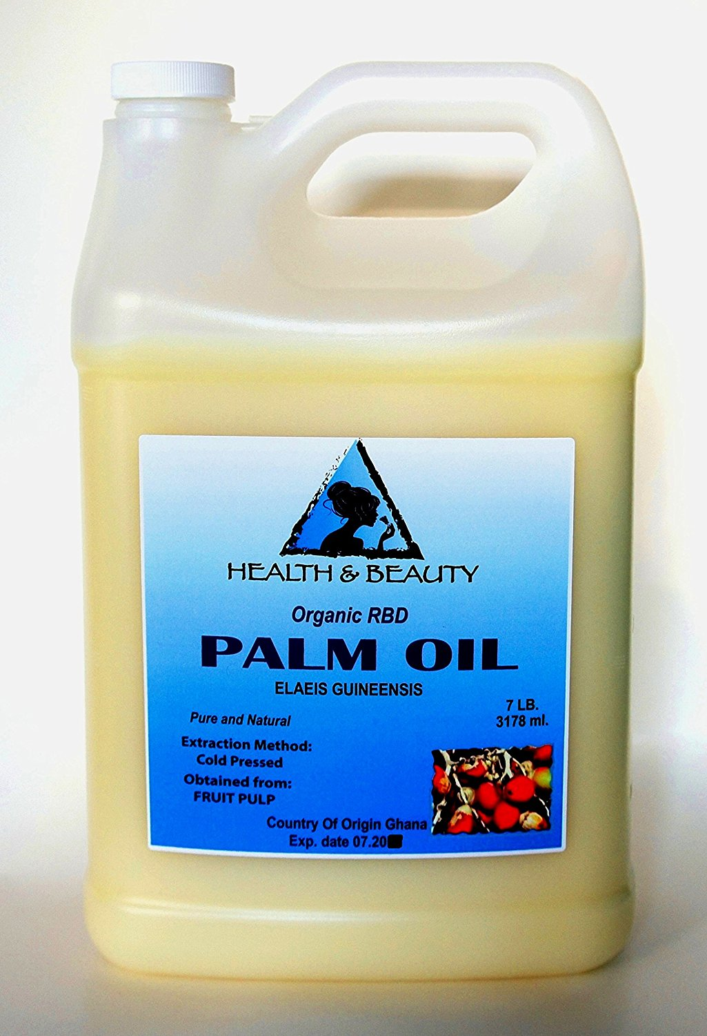 Palm Oil RBD Organic Carrier Cold Pressed Pure 128 oz, 7 LB, 1 gal