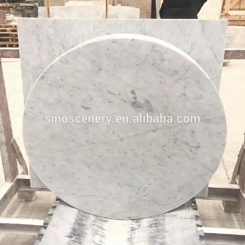 48 round marble table top made from Carrara white stone