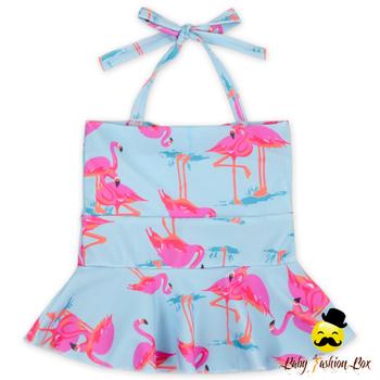 Yza 023 Yiwu Yihong Mignon Boutique élégant Petites Filles Imprimé Dessin Animé Modèle Halter Volants Tops Maillot De Bain Pour 0 6 Ans Enfants Buy