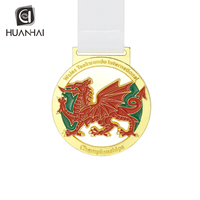 dragon design custom 3D shiny gold championship taekwondo medal awards