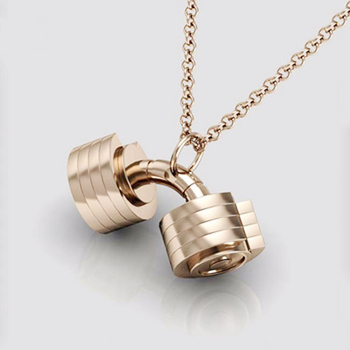 2018 Fancy Items Fitness Rose Gold Dumbbell Necklace Jewelry