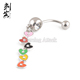 Stainless Steel Colorful Heart Dangling Navel Rings India