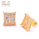 18kPave Diamond Square Hip Hop Iced Out Piercing Gold Earrings Stud Set