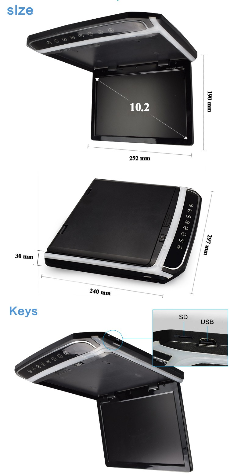 Delightful 10.2 Inch Lcd Car Panel Roof Mount Tv Monitor