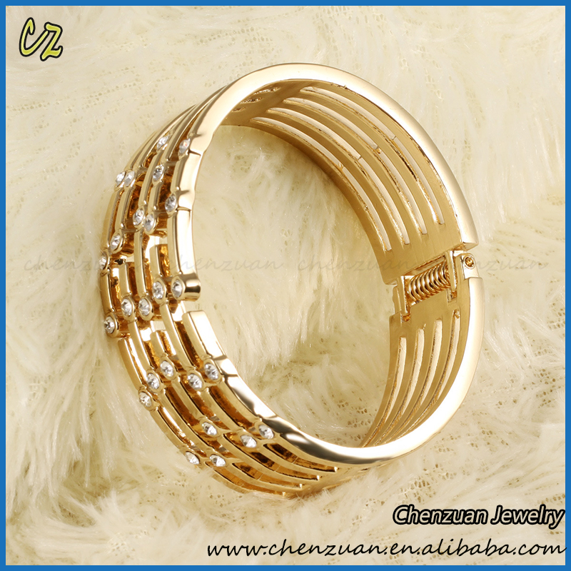 Fashion 18k Solid Gold Plated Bangles Latest Designs Wide Bangles ...