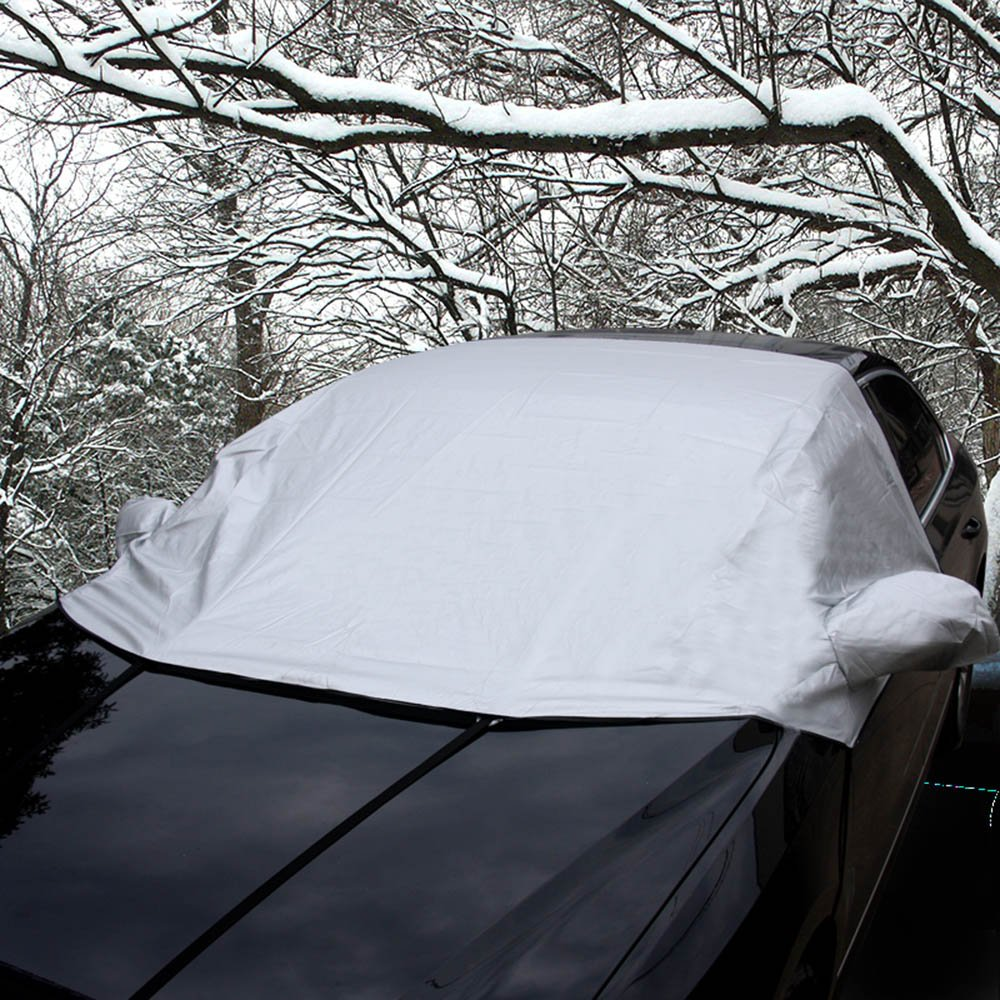Car Windshield Snow Cover [SIX Hook], Ice Frost Rain Resistant Waterproof Windproof Dustproof Outdoor Car Covers, Wiper Protector, Extra Large Size for Most Car, SUV,Truck, Van With Mirror Snow Covers