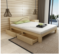 top sale solid wood pine used bedroom plywood double bed designs