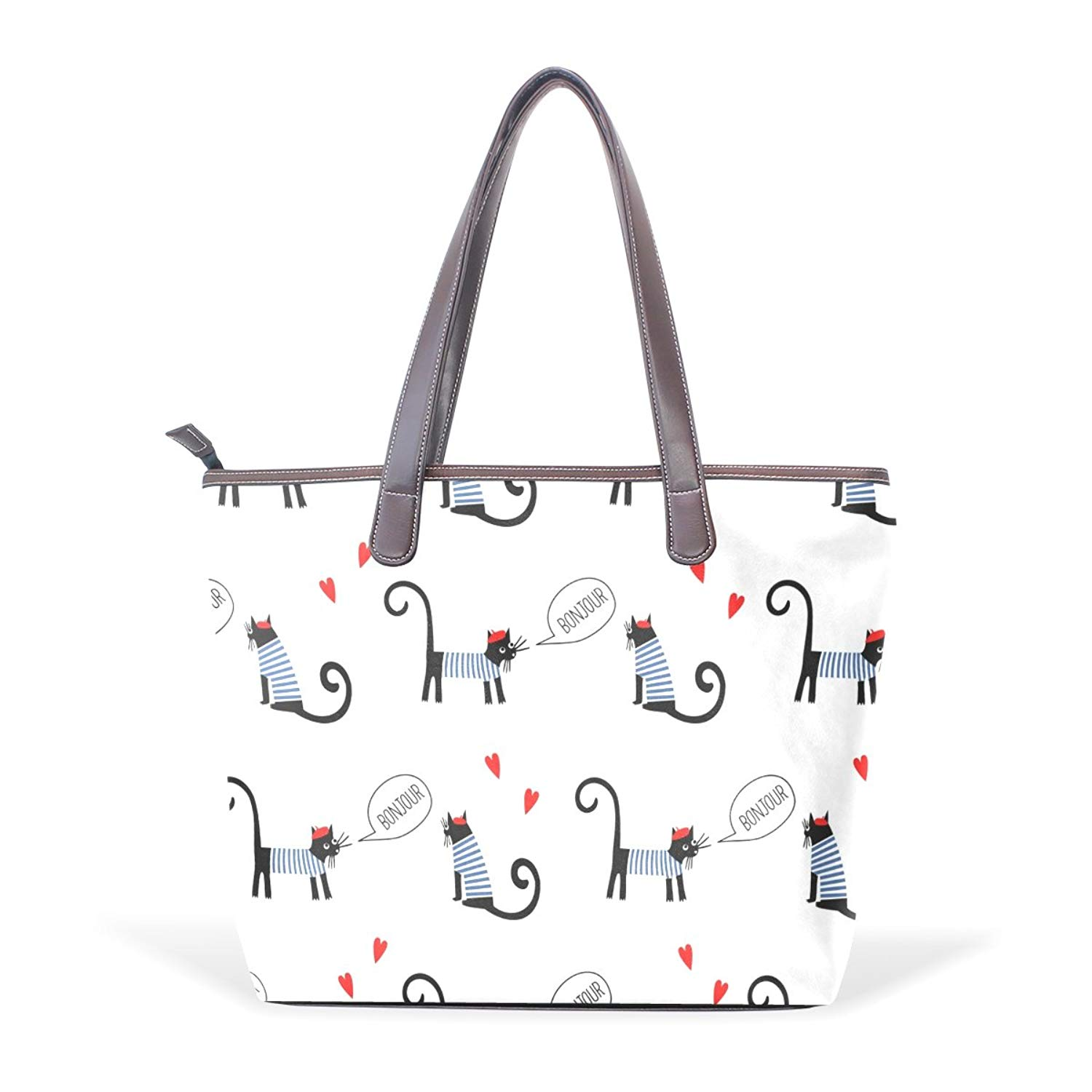14a6176d1b Get Quotations · Dragon Sword French Style Cats Saying Bonjour Women  Handbags Hobo Shoulder Bags Tote PU Leather Handbags
