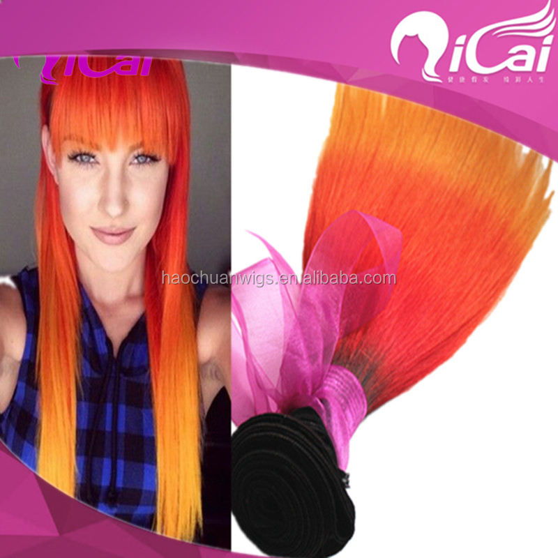 free shipping 1B/orange/yellow Ombre Hair Extensions 3PCS/LOT Ombre Brazilian Human Hair Weave Bundle Ombre Brazilian Human Hair