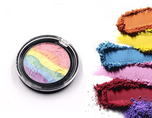 OEM Shining Rainbow Highlighter Eyeshadow Palette Natural Baked Powder Eye Shadow Contour Blusher Face Color Makeup