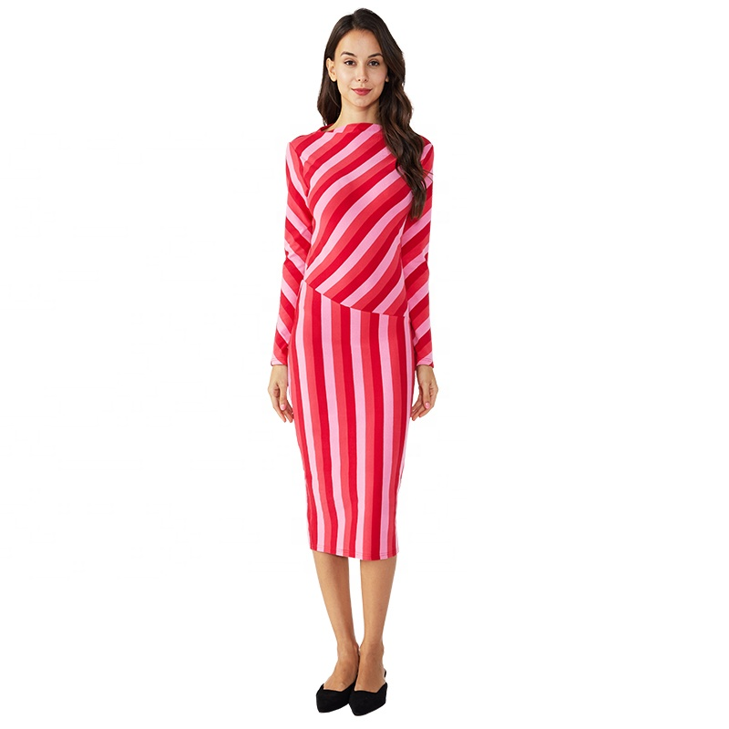 Women girls stripe <strong>silk</strong> long sleeve maxi <strong>dresses</strong> for ladies