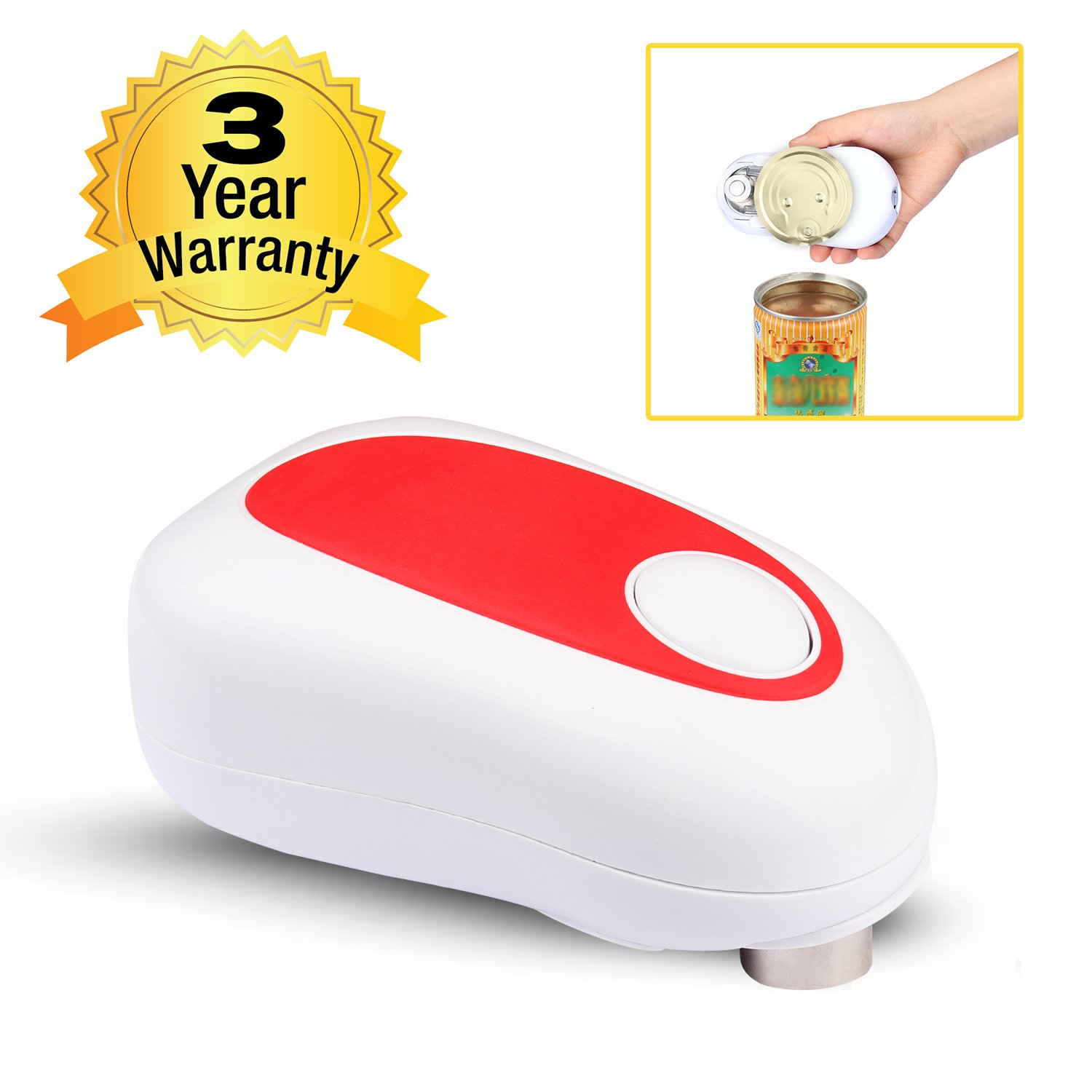 Can Opener, Electric Can Opener Smooth Edge One Touch Can Opener, Electric Can Openers for Seniors with Arthritis, No-Hands One Touch Can Opener(not included 4AA batteries)