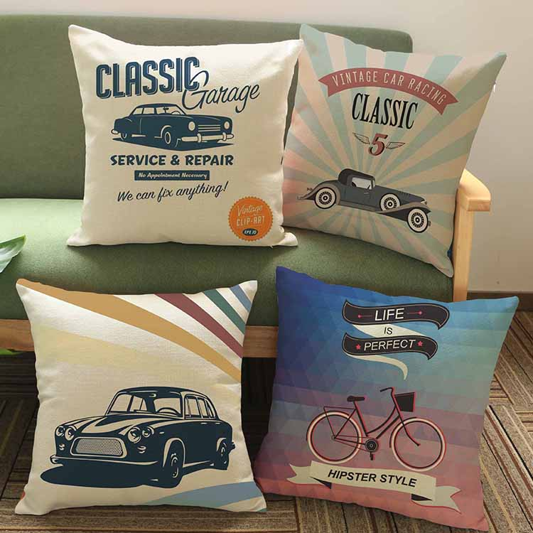 classic cars wall sticker 45*45cm/17.7*17.7'Pattern printing Luxury home Decorate outdoor Car sofa seat cushion cushions pillow