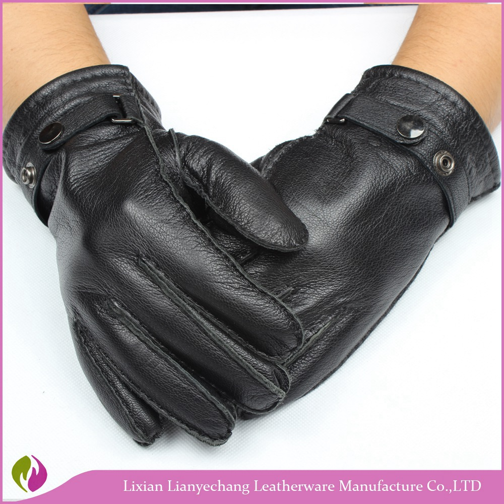 Classic style warm lining mens winter sheepskin leather gloves with buckle