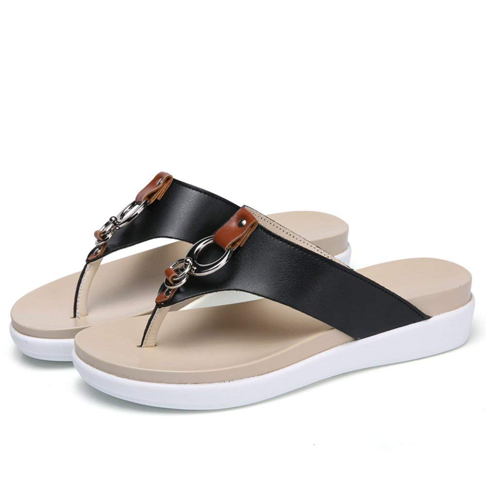 Get Quotations · Summer flip flops women shoes new thick-soled slippers  female casual outdoor beach flats wedge 23e2576f89e2