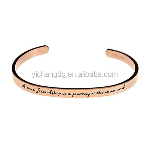 A true friendship is a journey without an end Premium Stainless Steel Cuff Bangle Bracelet