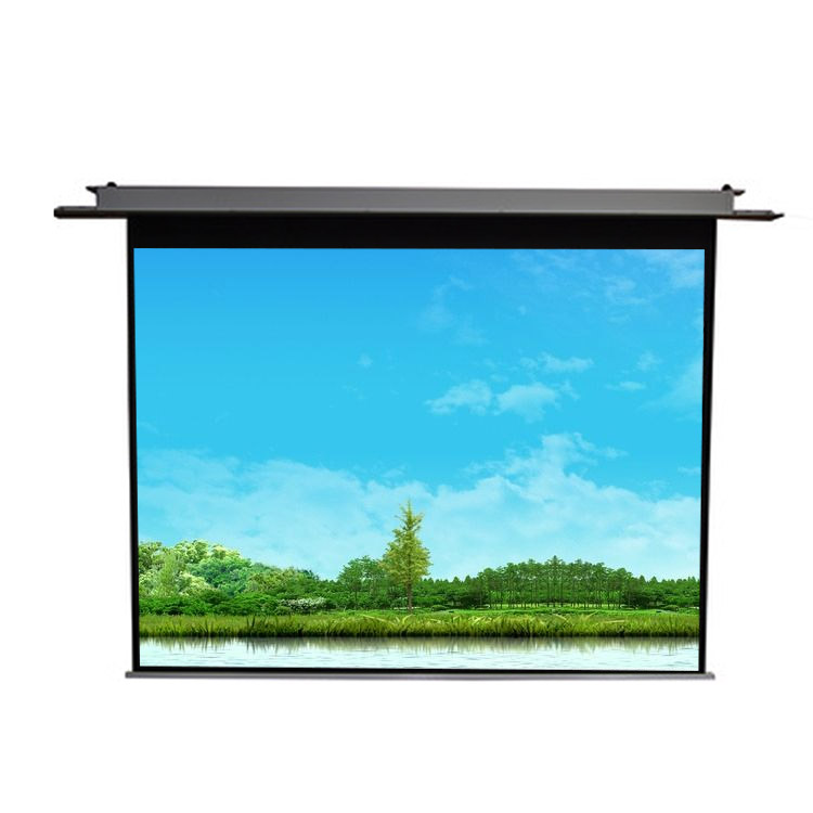 High quality cheap 16:9 100 inch high ceiling motorized projector screen for home cinema, White;transparent;black;grey