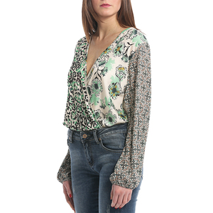 Italy Low V-neck Open Back Mixed Print Women Blouse