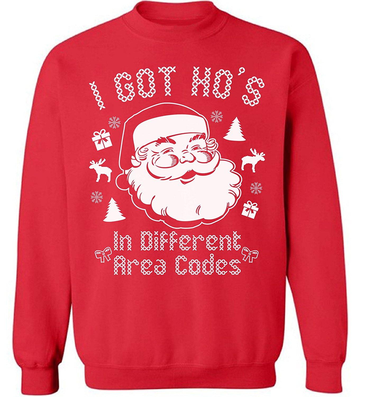 Awkward Styles Santa Pocket Off Shoulder Sweatshirt Santa Patch Sweater for Xmas