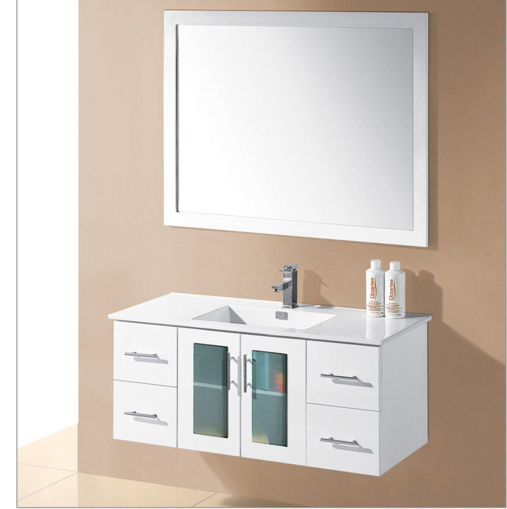 Four drawers glass door bathroom cabinet mirror bathroom vanity