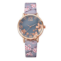 3817 Flower Charm Good Quality Alloy Watch Case Analog Watch Ladies Leather Watch