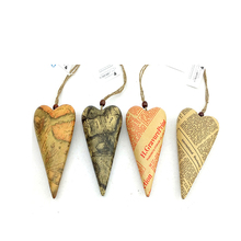 recycled paper pulp crafts of new paper design hanging heart for christmas/home decorations/gifts
