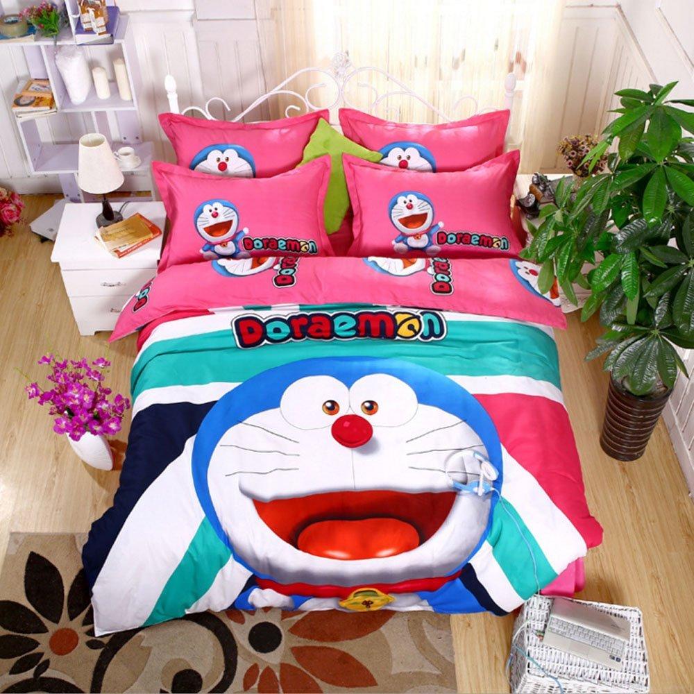 Cartoon Pattern Design Bedding Sets Doraemon Bedding Set Bedding for Teens Kids Cartoon Cute Duvet Cover Set Childhood Bed Sheets Christmas Gift (Full, #3)