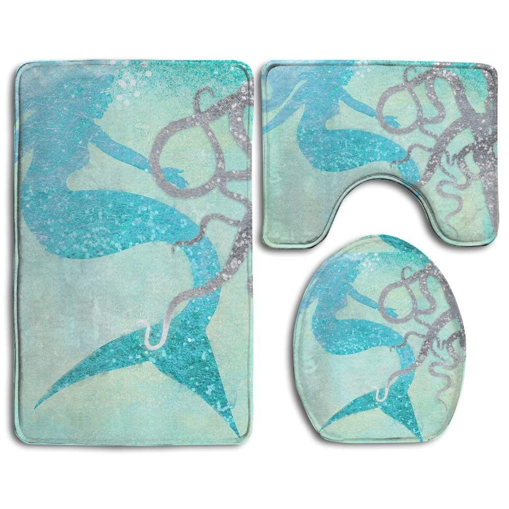 HOMESTORES Beautiful Mermaid Fish Scales Art Skidproof Toilet Seat U Shape Cover Bath Mat Lid Cover For Bathroom