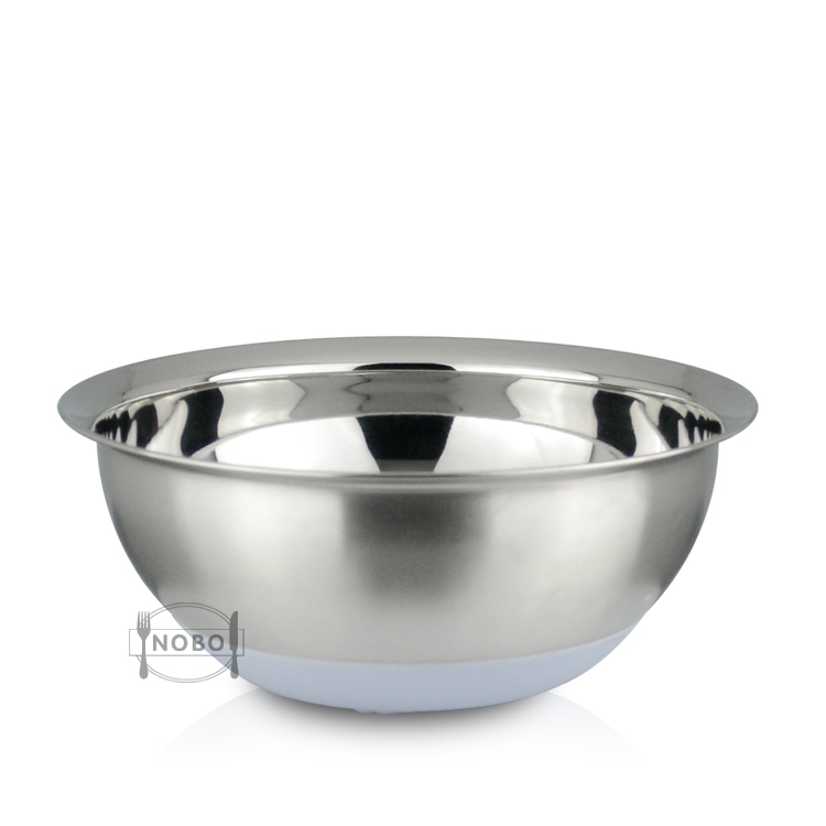 Stylish Design Kitchen Functional Quality Silicone Non-Slip Bottom Prep Bowls Metal Salad Mixing Wide Rim Bowls