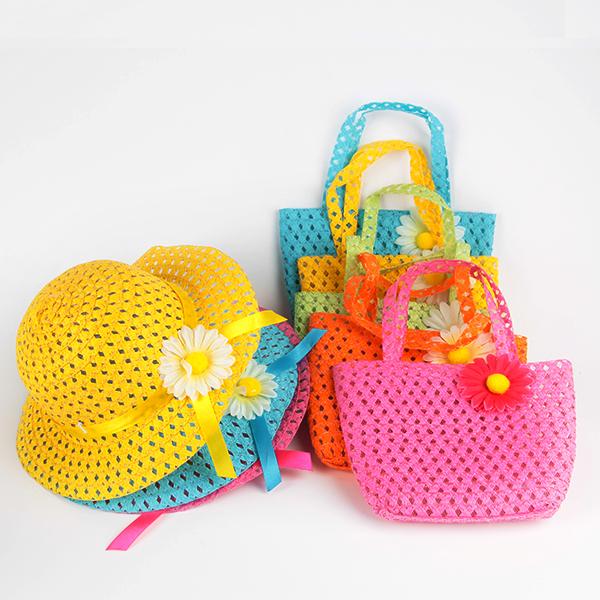 Summer Sun Hat Girls Kids Beach Hats Bags Flower Straw Hat Cap Tote Handbag Bag Suit