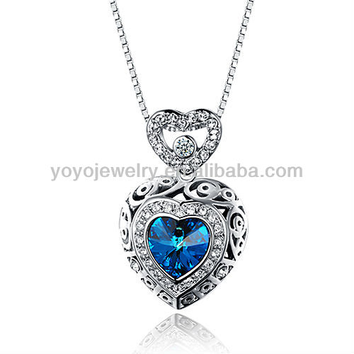 Special design fashion copper sapphire heart shape crystal necklace