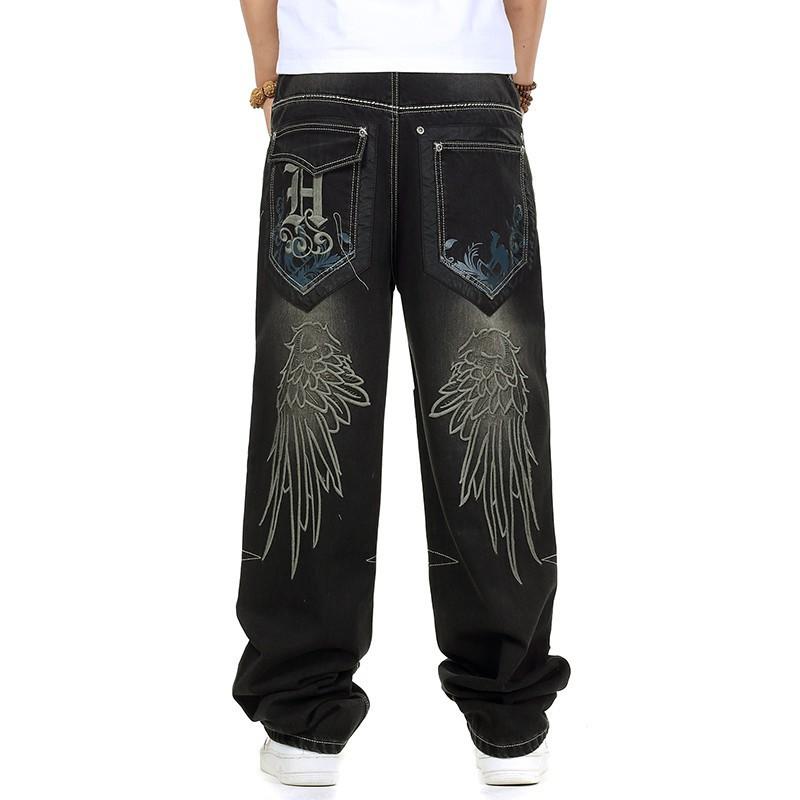 85d25d17d64 Wholesale-Jeans Men Baggy Black Casual Rap Jeans Loose Pants Hip-hop ...