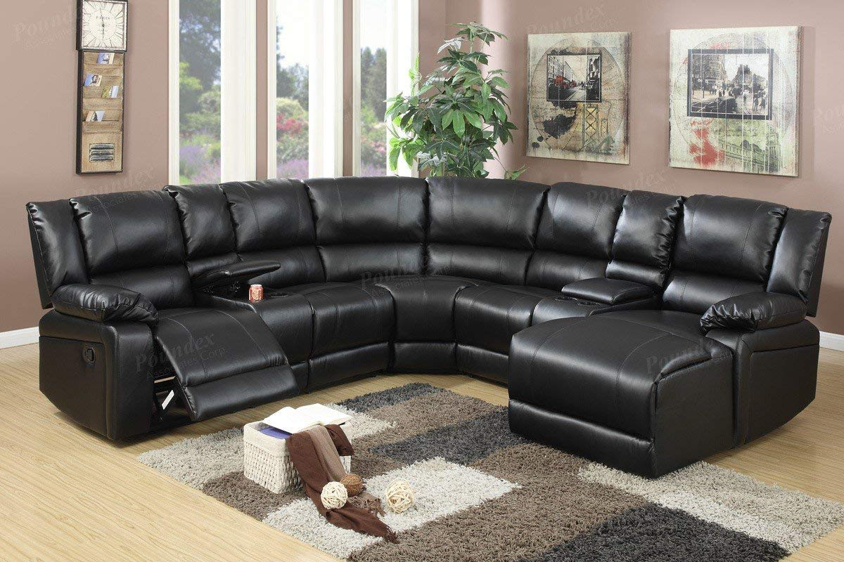 5pcs Black Bonded Leather Reclining Sofa Set Includes a Push-back Chaise