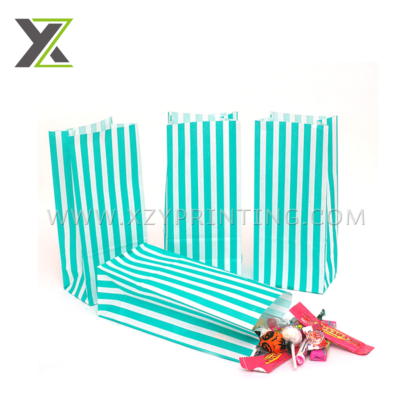 Custom Stripe green color sweet candy 크래프트 paper bag