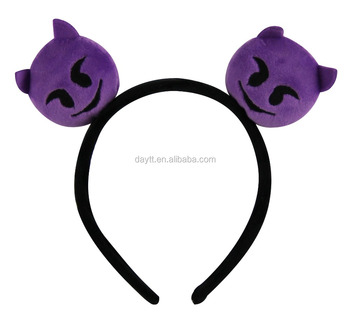 Promotional 2.4 inch Plush Emoji Headband Hairband for kids&girls' hair accessories