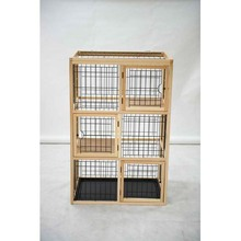 Three level dog cage with frame and nature wood from China Manufacturer