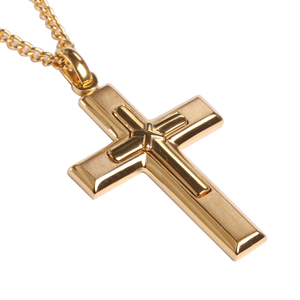 Unisex Men Gold Color Stainless Steel Cross Pendants Charm