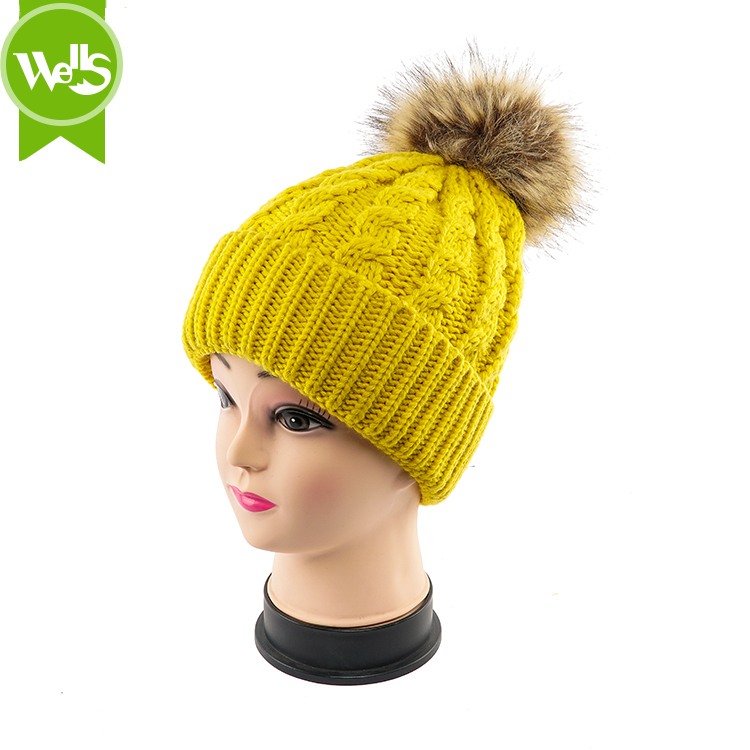 62d56fb6794f8 Custom Design Promotional Knitted Beanie With Pom Pom Fur Ball Knit ...