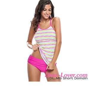 73cd6f6383 Sexy Polka Dot Rosy 2pcs Tankini Swim Suits for Women 2017