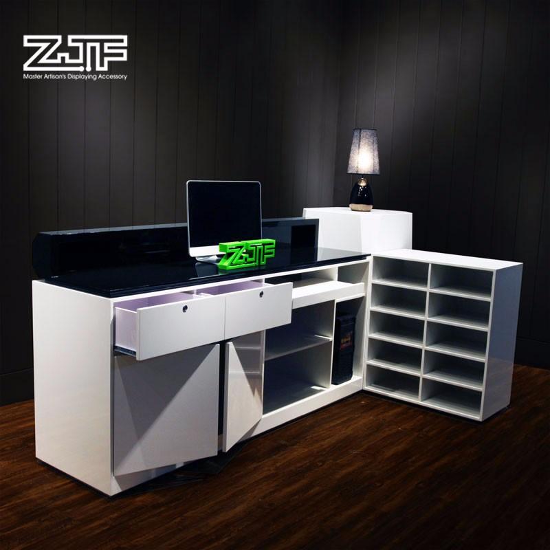 Zjf l shaped white modern reception desk for hair salon for L shaped salon reception desk