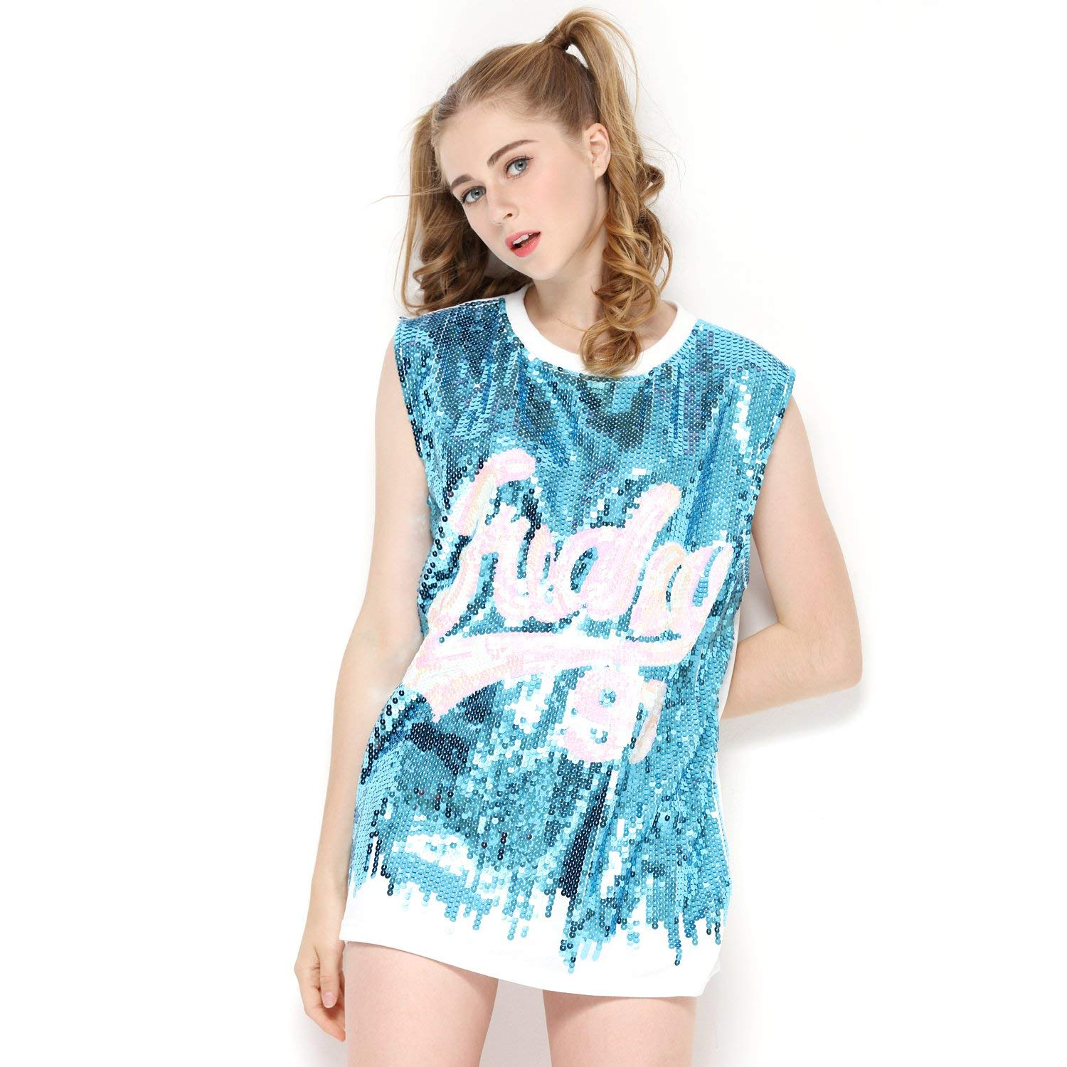 Women Sequin Tank Top Loose Fit - Letter Print Sparkle Top T Shirt for Teens
